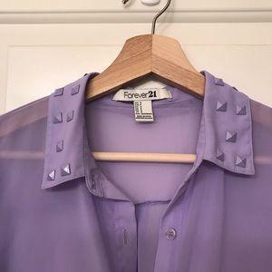 💜sheer lavender studded blouse-forever21-small💜